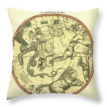 Chart Of The Constellations Throw Pillow by Underwood Archives