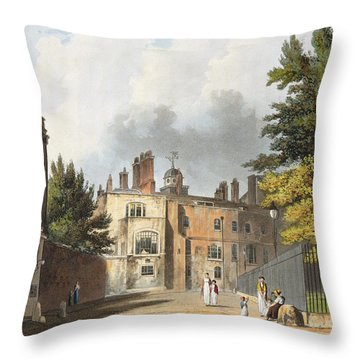 Charter House From The Square Throw Pillow by William Westall