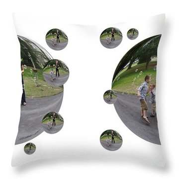 Chasing Bubbles - Cross Your Eyes And Focus On The Middle Image That Appears Throw Pillow by Brian Wallace
