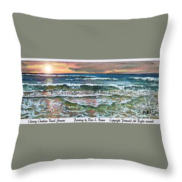 Throw Pillow featuring the painting Chasing Chatham Beach Sunsets by Rita Brown