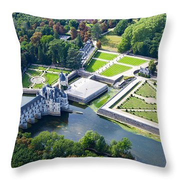 Throw Pillow featuring the photograph Chateau De Chenonceau And Its Gardens by Mick Flynn