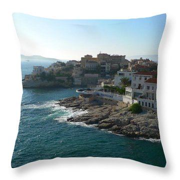 Chateau D'if Bay Of Marseille Throw Pillow