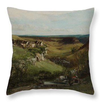 Chateau Dornans Throw Pillow by Gustave Courbet