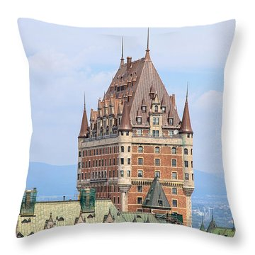 Chateau Frontenac Quebec City Canada Throw Pillow by Edward Fielding