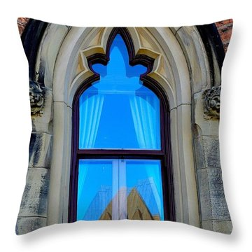 Chateau Laurier - Parlaiment Window - Reflection # 6 Throw Pillow