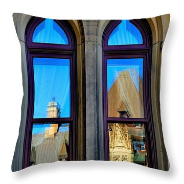 Chateau Laurier - Parlaiment Window - Reflection # 1 Throw Pillow