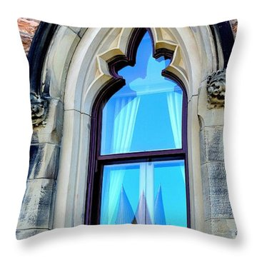 Chateau Laurier - Parlaiment Window - Reflection # 3 Throw Pillow