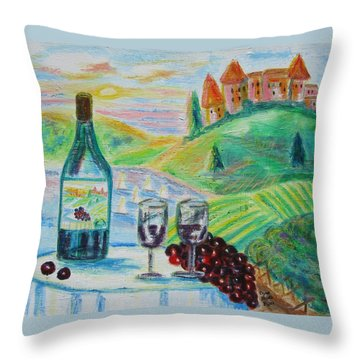 Chateau Wine Throw Pillow