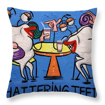 Chattering Teeth Dental Art By Anthony Falbo Throw Pillow by Anthony Falbo