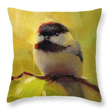 Chatty Chickadee - Cheeky Bird Throw Pillow