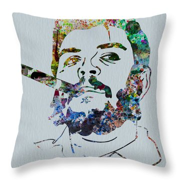 Che Watercolor Throw Pillow by Naxart Studio