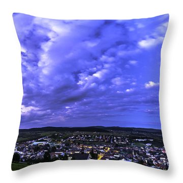 Throw Pillow featuring the photograph Checiny Town Blue Hour Panorama by Julis Simo