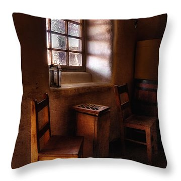 Checkers At Bent's Old Fort Throw Pillow by Priscilla Burgers