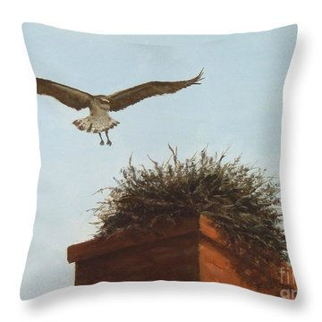 Checking The Nest Throw Pillow