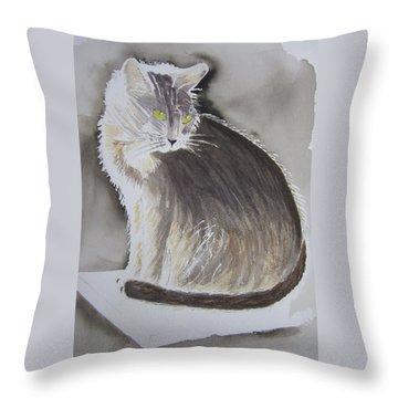Cheeky Cat  Throw Pillow by Elvira Ingram