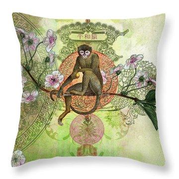 Cheeky Monkey Throw Pillow by Aimee Stewart