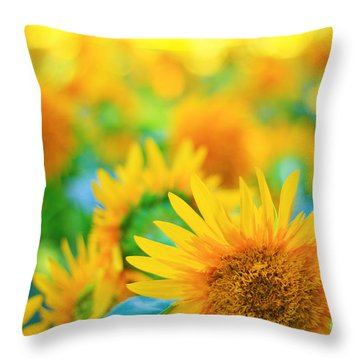 Cheerful And Happy Yellow Sunflower Field In Summer Throw Pillow