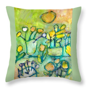 Throw Pillow featuring the mixed media Cheerful Garden by Catherine Redmayne