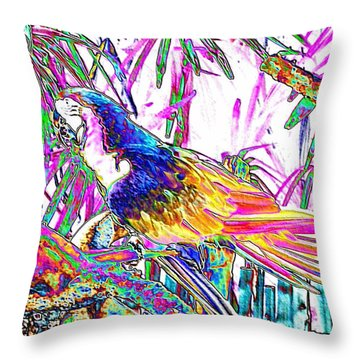 Cheerful Parrot. Colorful Art Collection. Promotion - August 2015 Throw Pillow