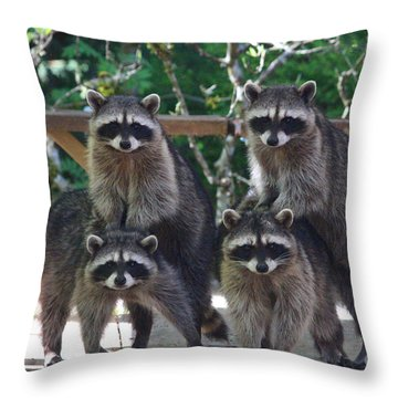 Cheerleading Raccoons Throw Pillow