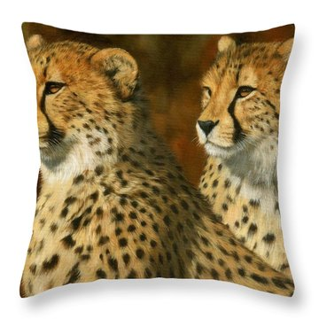 Cheetah Brothers Throw Pillow by David Stribbling