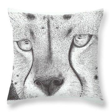 Cheetah Face Throw Pillow by Todd Hodgins