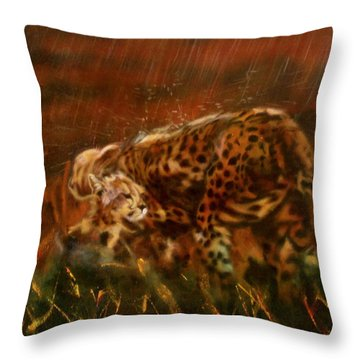 Cheetah Family After The Rains Throw Pillow
