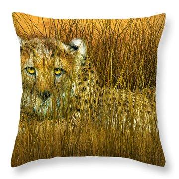 Cheetah - In The Wild Grass Throw Pillow by Carol Cavalaris