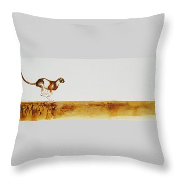 Cheetah Race - Original Artwork Throw Pillow