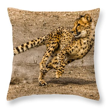 Throw Pillow featuring the photograph Cheetah Run by Janis Knight