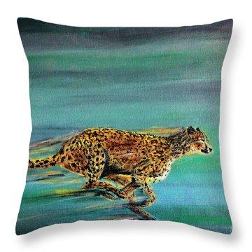 Cheetah Run Throw Pillow