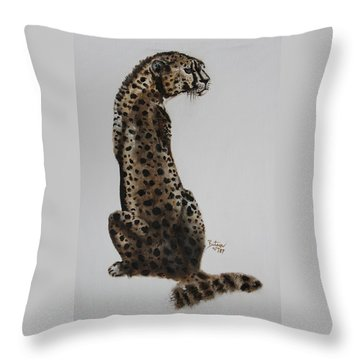Throw Pillow featuring the painting Cheetah - Spotted Warrior by Barbie Batson