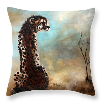 Throw Pillow featuring the painting Cheetah - The Guardian by Barbie Batson