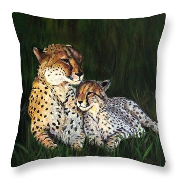 Throw Pillow featuring the painting Cheetahs by LaVonne Hand