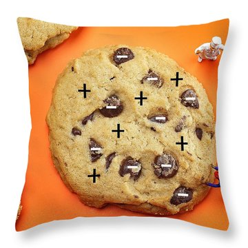 Throw Pillow featuring the photograph Chef Depicting Thomson Atomic Model By Cookies Food Physics by Paul Ge