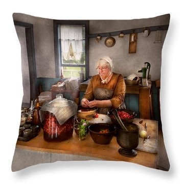 Chef - Kitchen - Cleaning Cherries  Throw Pillow by Mike Savad
