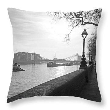 Chelsea Embankment London Uk 3 Throw Pillow