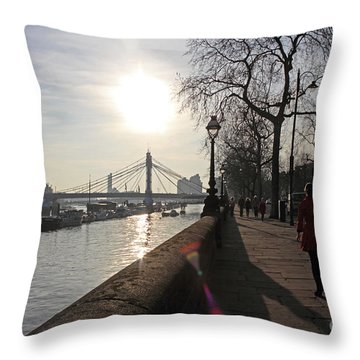 Chelsea Embankment London Uk Throw Pillow