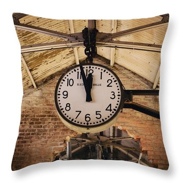 Throw Pillow featuring the photograph Chelsea Market Clock by Kim Fearheiley
