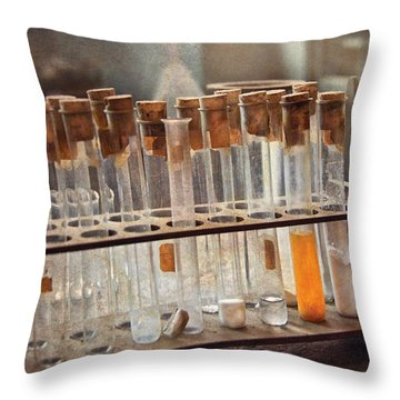 Chemist - Specimen Throw Pillow by Mike Savad