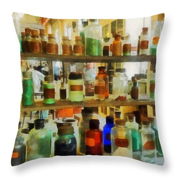 Chemistry - Bottles Of Chemicals Green And Brown Throw Pillow by Susan Savad