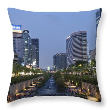 Cheonggyecheon Stream In Seoul South Korea Throw Pillow