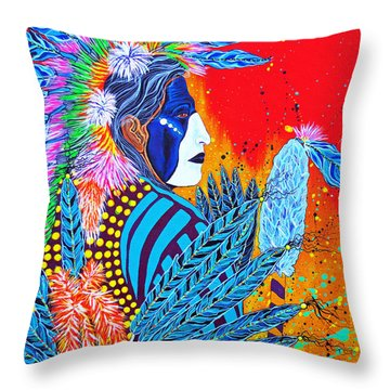Throw Pillow featuring the painting Cherokee Dancer by Debbie Chamberlin