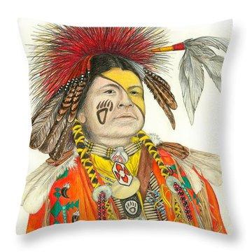 Cherokee In Orange Throw Pillow by Lew Davis