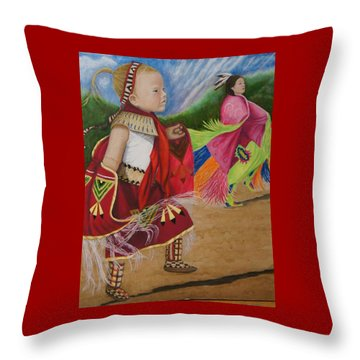 Cherokee Ribbon Dancers Throw Pillow