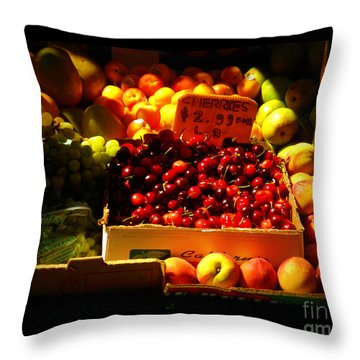 Throw Pillow featuring the photograph Cherries 299 A Pound by Miriam Danar