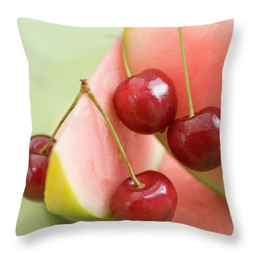 Cherries And Watermelon Throw Pillow