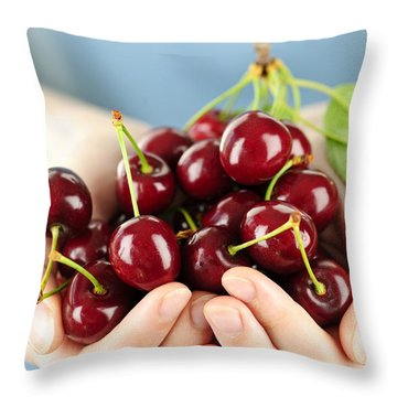 Cherries Throw Pillow by Elena Elisseeva