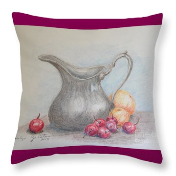 Cherries Still Life Throw Pillow