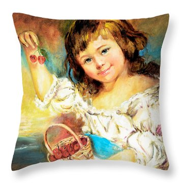 Throw Pillow featuring the painting Cherry Basket Girl by Sher Nasser